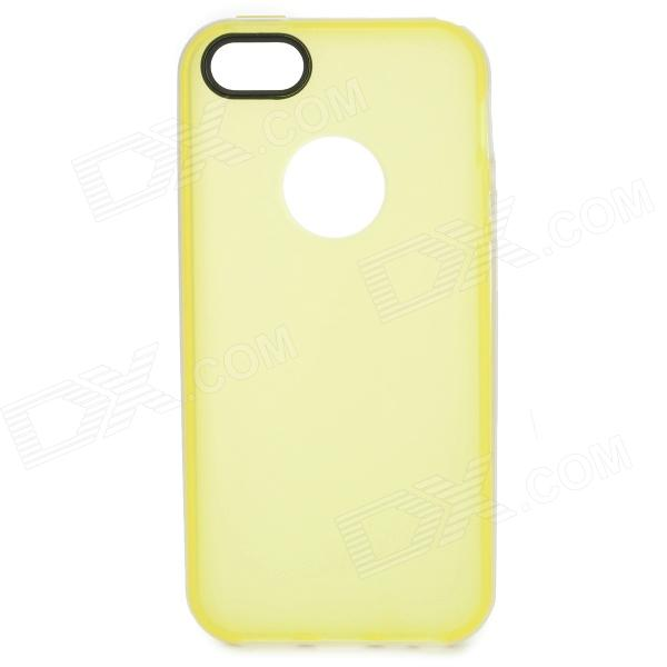 S-What Matte Protective TPU + PC Back Case for IPHONE 5 / 5S - Light Yellow + White protective pc tpu back case for iphone 5 w anti dust cover lavender purple