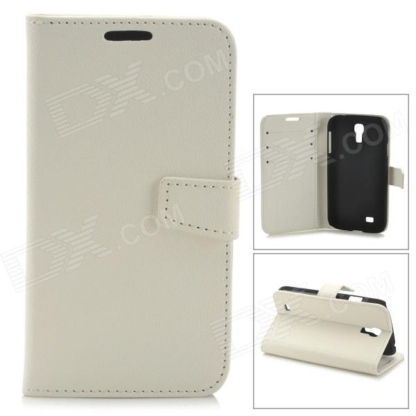 Stylish Protective PU Leather Case for Samsung Galaxy S4 i9500 - White cm001 3d skeleton pattern protective plastic back case for samsung galaxy s4