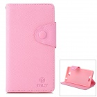 MLT LLS39H Protective Flip Open PU + TPU Case w/ Strap / Stand for Sony S39h (Xperia CN3) - Pink