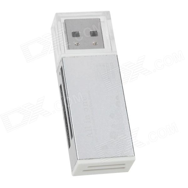 All in one 4-in-1 SD/ MicroSD / TF / M2 High Speed Card Reader - Silver