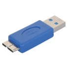 USB 3.0 Female to Micro USB 3.0 OTG Cable w/ Adapter - White + Blue (20cm)