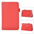 "Protective PU Leather Case w/ Stylus Holder for 7"" Dell Venue 7 - Red"