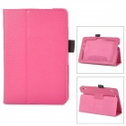 Protective Lichee Pattern PU Leather Case w/ Stylus Holder for Kindle Fire HDX 7 - Deep Pink