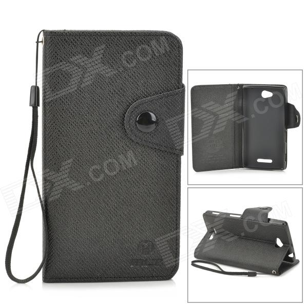 купить MLT LLS39H Protective PU Leather + TPU Case w/ Hand Strap for Sony S39h Xperia CN3 - Black недорого