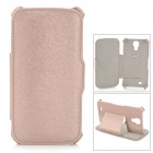 ZQ-821 Protective PU Leather Case Cover Stand for Samsung Galaxy S4 i9500 - Champagne Pink