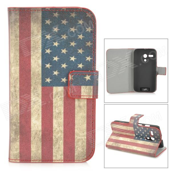 US National Flag Style Protective PU Leather Case w/ Card Holder Slots for MOTO G - Blue + Red the united kingdom national flag pattern pu leather passport holder red white blue