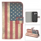 US National Flag Style Protective PU Leather Case w/ Card Holder Slots for MOTO G - Blue + Red