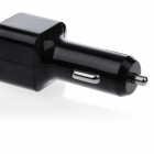 Dual USB Car Cigarette Lighter Charger w/ Spring Micro USB Cable for Samsung Galaxy Note 3 - Black