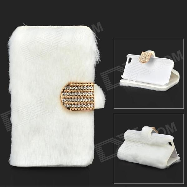 Stylish Protective PU Leather Fur Case for IPHONE 5 - White protective pu leather case for iphone 5 w d buckle closure white