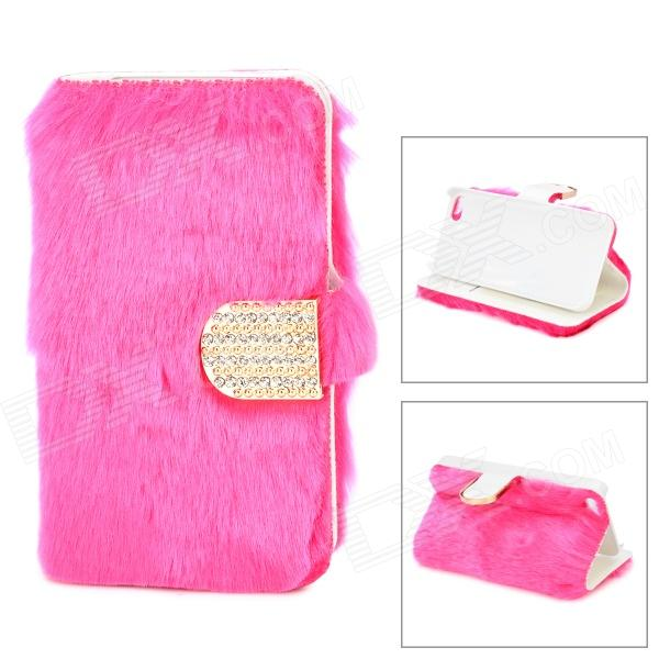 Stylish Protective PU Leather Fur Case for IPHONE 5 - Deep Pink silk style protective pu leather plastic case for iphone 4 4s deep pink
