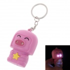 Cute Pig LED Keychain - Purple + Yellow (3 x AG10)