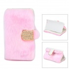 Stylish Protective PU Leather Fur Case for IPHONE 5 / 5S - Pink + Golden