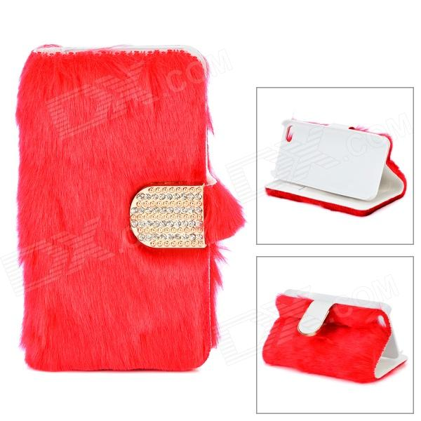Stylish Protective PU Leather Fur Case for IPHONE 5 - Red ultra thin protective flip open pu leather cover with plastic back case for iphone 5 red