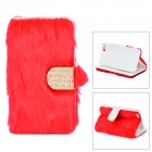 Stylish Protective PU Leather Fur Case for IPHONE 5 - Red