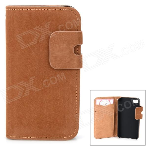 Protective PU Leather Flip-Open PU Leather Case for IPHONE 4 / 4S - Brown protective pu leather flip open case for iphone 4 4s black