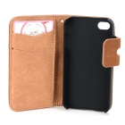 Protective PU Leather Flip-Open PU Leather Case for IPHONE 4 / 4S - Brown