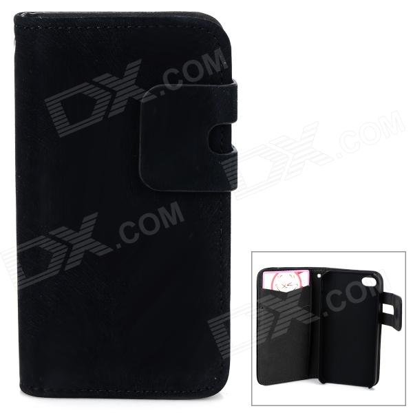 Protective PU Leather Flip-Open Case w/ Card Slots for IPHONE 4 / 4S - Black protective pu leather flip open case for iphone 4 4s black