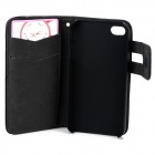 Protective PU Leather Flip-Open Case w/ Card Slots for IPHONE 4 / 4S - Black