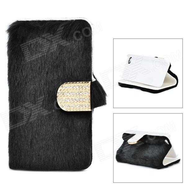 Stylish Protective PU Leather Fur Case for IPHONE 5 / 5S - Black + Golden stylish protective pu leather case for iphone 5c white transparent black