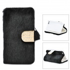 Stylish Protective PU Leather Fur Case for IPHONE 5 / 5S - Black + Golden