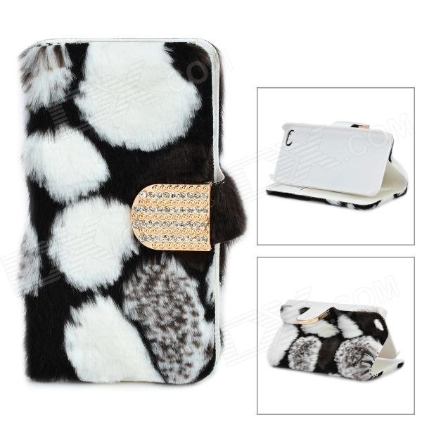 Stylish Protective PU Leather Fur Case for IPHONE 5 - White + Black stylish protective pu leather case for iphone 5c white transparent black