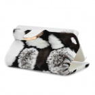 Stylish Protective PU Leather Fur Case for IPHONE 5 - White + Black