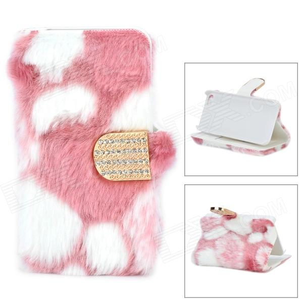 Stylish Protective PU Leather Fur Case for IPHONE 5 - White + Pink stylish protective pu leather case for iphone 5c white transparent black