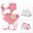 Stylish Protective PU Leather Fur Case for IPHONE 5 - White + Pink