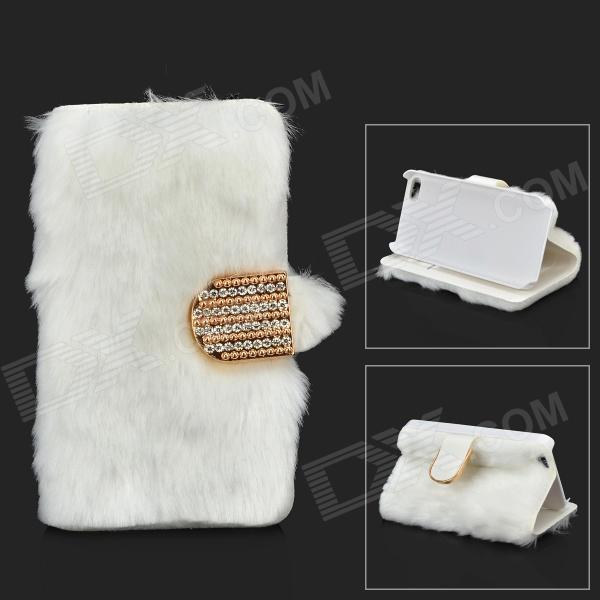 Stylish Protective PU Leather Fur Case for IPHONE 5 / 5S - White + Golden stylish protective pu leather case for iphone 5c white transparent black