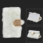 Stylish Protective PU Leather Fur Case for IPHONE 5 / 5S - White + Golden