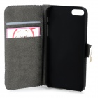 Cute Owl Pattern PU Leather Flip-Open Case w/ Card Slots for IPHONE 5 / 5S - Blue + Grey