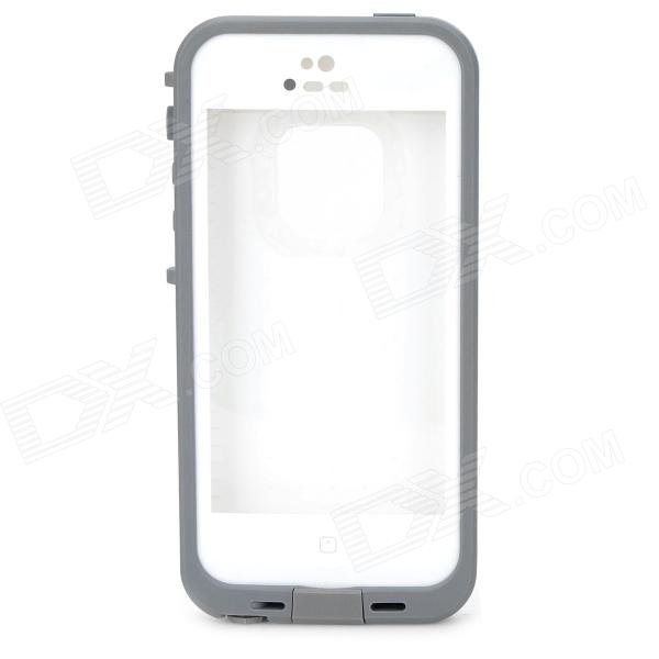 Protective Water Resistant Plastic Full Body Case for IPHONE 5 / 5S - White + Grey ipega i5056 waterproof protective case for iphone 5 5s 5c pink