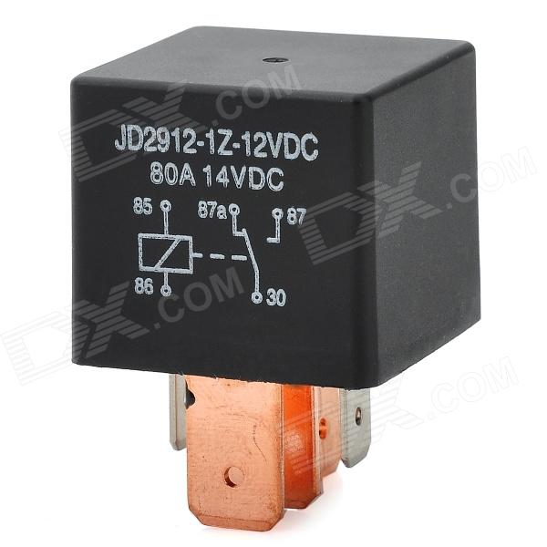 JD1914 12V 80A 4 Wide Pin Car Power Relay - Black