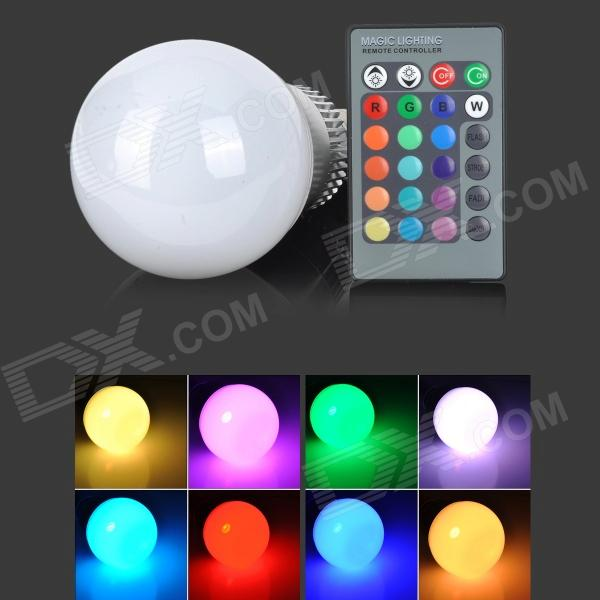 LetterFire E27 10W LED RGB Light Bulb w/ Remote Controller - White + Silver (85~265V) jr led e27 10w 500lm led rgb light bulb w remote control white silver ac 85 265v