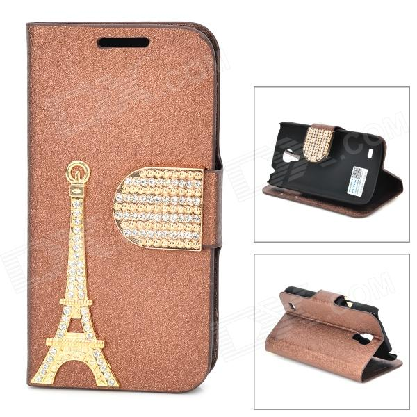 PUDINI WB-I9190 Crystal Eiffel Tower Style PU Leather Case for Samsung i9190 - Golden + Coffee pudini wb ip5g rhinestone eiffel tower style pu leather case for iphone 5 brown golden