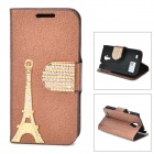 PUDINI WB-I9190 Crystal Eiffel Tower Style PU Leather Case for Samsung i9190 - Golden + Coffee