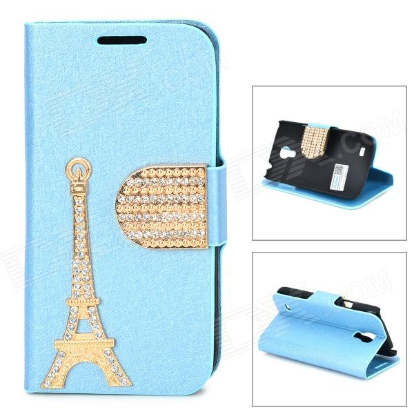 PUDINI WB-I9190 Crystal Eiffel Tower Style PU Leather Case for Samsung i9190 - Golden + Blue pudini wb ip5g rhinestone eiffel tower style pu leather case for iphone 5 brown golden