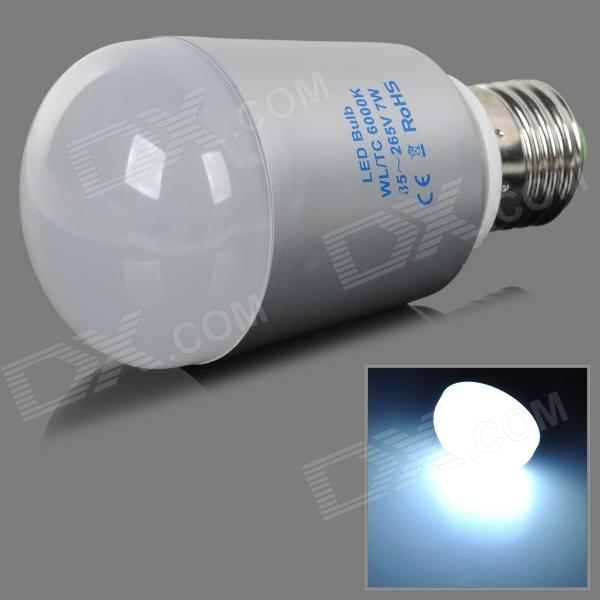 E27 7W 450lm 6000K 14-5730 SMD LED White Light Bulb - Silvery Grey + White (AC 85~265V) lexing e14 7w 540lm 14 smd 5730 led warm white light bulb ac 85 265v