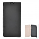 Protective Flip-Open PU Leather Case for Sony L39H - Black