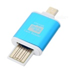 OTG USB Micro SD / TF Card Reader - голубой ( 64GB )