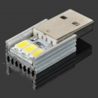 USB Power 1W 70lm 3-LED White Light Night Light / Emergency Lamp / Mobile Power Light - Silver