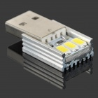 USB Power 1W 70lm 3-LED White Light Night Lamp - Silver