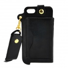 Protective PU Case w/ Stand + Strap for IPHONE 5 / 5S - Black