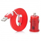 1000mA USB Car Cigarette Charger + Charging Cable for LG Nexus 5 / 4 / E960 + More - Red