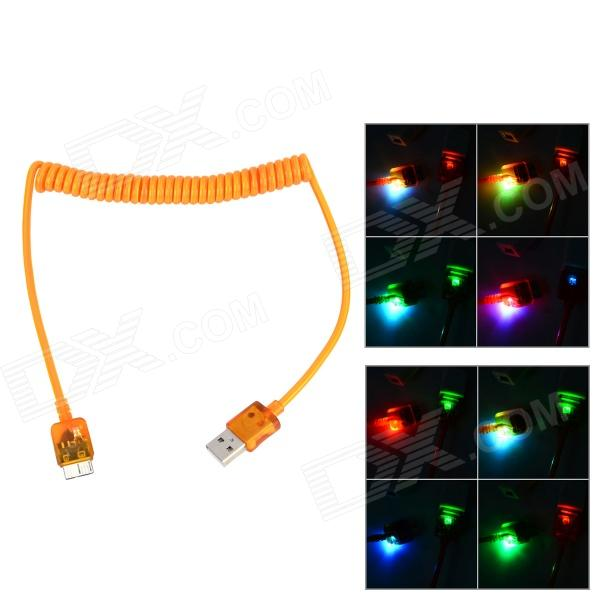 Flexible Micro USB 9 Pin Charging Data Cable w/ Colorful Flashing Light for Samsung - Orange (110cm) original remax 2 1a golden noodle style micro usb charging data cable for cellphone
