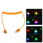 Flexible Micro USB 9 Pin Charging Data Cable w/ Colorful Flashing Light for Samsung - Orange (110cm)