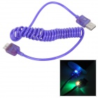 USB to Micro-B 9-Pin Data Charging Spring Cable w/ RGB Light - Dark Purple
