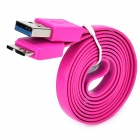 Micro USB 3.0 9pin Flat Charging / Data Cable for Samsung Note 3 / N9000 - Purple Pink (100cm)
