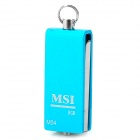 MSI M-04 Aluminum Alloy Water Resistant Rotary USB 2.0 Flash Drive - Light Blue + Silver (8GB)