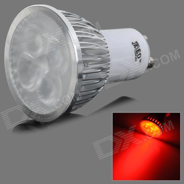 JRLED GU10 4W 100lm 635nm 4-LED Red Light Decorative Spotlight - White + Silver (AC 220V)